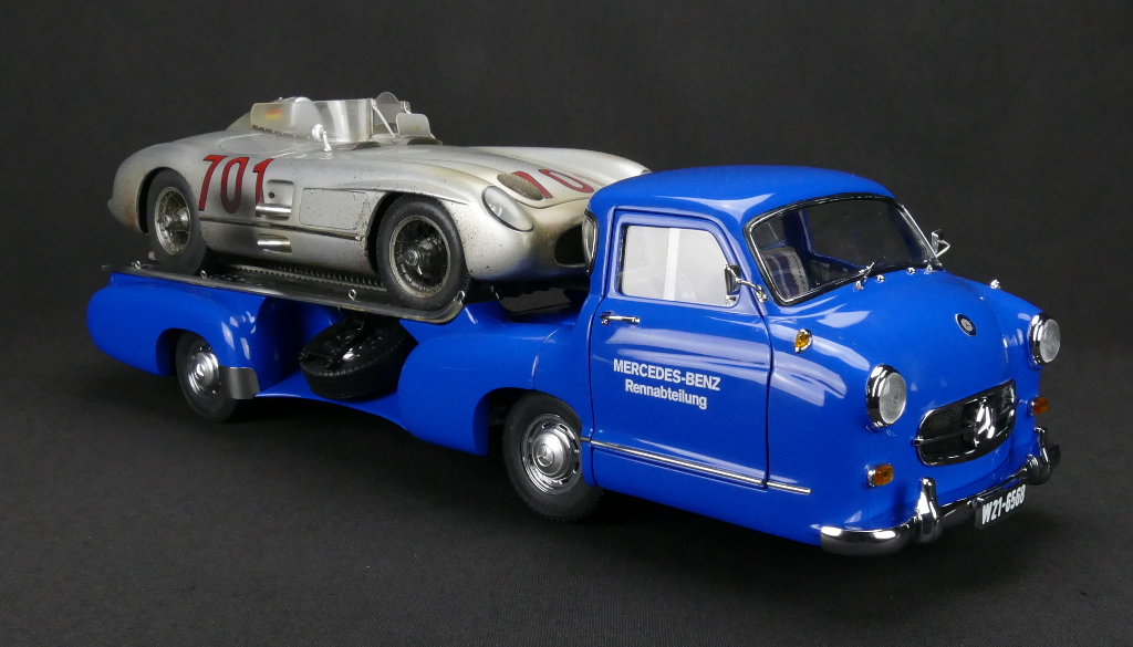 Mercedes-Benz Racing Car Transporter Blue Wonder 1955 and 300 SLR 701 Dirty Hero